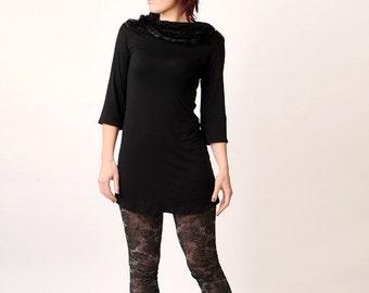 Long black tunic top - Black jersey tunic - black and black ruffles - CUSTOM sized