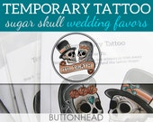 12 Sugar Skull Wedding Temporary Tattoos - Halloween Wedding Favors - Day of the Dead Wedding Favors - Dia De Los Muertos