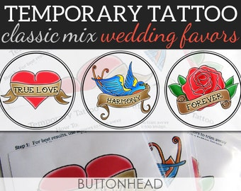 Temporary Tattoo Rockabilly Wedding Favors - Set of 12