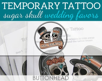 12 Sugar Skull Wedding Temporary Tattoos - Halloween Wedding Favors - Day of the Dead Wedding Favors - Dia De Los Muertos
