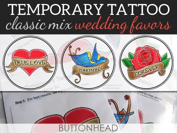 Temporary tattoo rockabilly wedding favors set of 12 for Temporary tattoos wedding