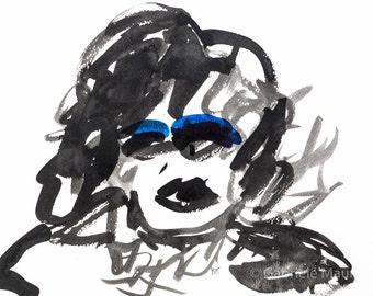 ORIGINAL work / The Eye Shadow //  watermedia painting / ooak / ink