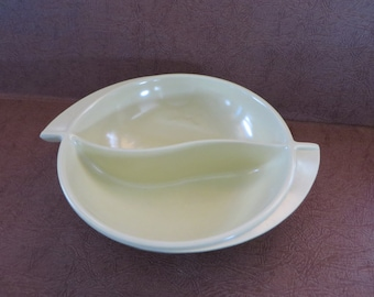 Vintage Boonton Melmac Butter Yellow divided vegetable dish bowl