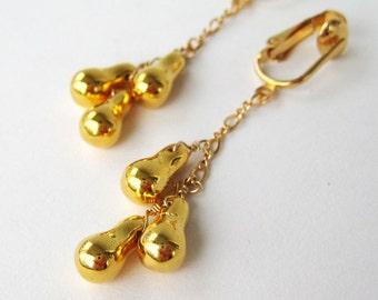 Gold Dangle Clip On Earrings, Shiny Metallic Teardrop Pendant Clipons, Gold Ear Clips, Non-Pierced Earrings, Handmade, Golden Drop