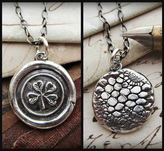 Wax Seal Necklace Four Leaf Clover necklace - Reversible antique Irish Lace Imprint - Irish shamrock jewelry -  V1226
