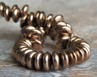 Czech Glass Bead 6mm Metallic Bronze Lentil : 50 pc Bronze Lentil