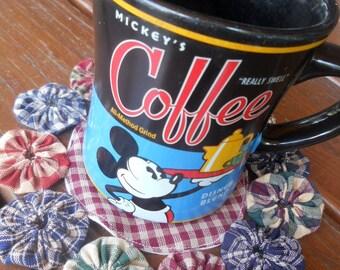 "Primitive Candle Mat YoYo Homespun Wholesale 7"" Penny Rug Coffee Tea Mug Mat  Doily Yo Quilt Rustic Decor Cabin"