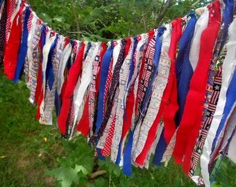 SALE Red White Blue Rag Tie Banner Americana Photo Prop Smash Cake Rag Tie Garland Patriotic July 4th Garland Birthday Banner Baby Shower