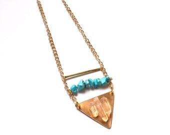 SALE Bohemian Quartz raw crystal turquoise semi precious gemstone boho tribal Gold Gem Pendant Necklace