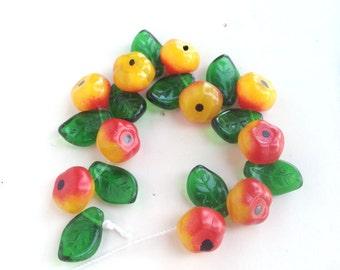Apple Fruit Leaves Beads Czech Glass Beads