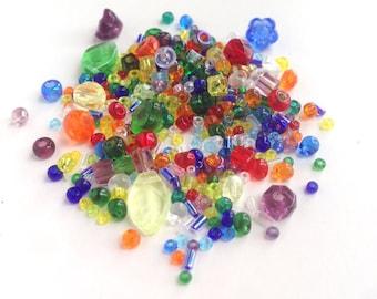 Bead Soup Rainbow Mix Japanese Czech Beads 59 gram Blue Green Yellow Red Purple
