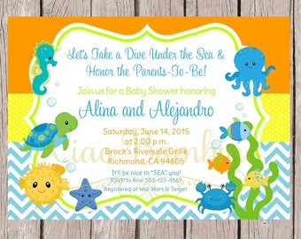 Under the Sea Baby Shower Invitation / PRINTABLE Invitation for Baby Shower / Gender Neutral / You Print - 0023