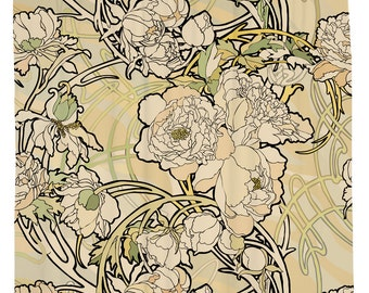 Art Nouveau Shower Curtain, Floral Bath Curtain, Nature Bathroom Decor, Fabric Shower Curtain,  Waterproof Curtain, Creme Flower Curtain