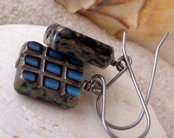 Pure Titanium Earrings - Hypoallergenic Earrings - Bead Jewelry - Bead Earrings - Earrings for Sensitive Ears - Blue Glass Bead Earrings