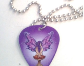 Purple Fairy Guitar Pick Necklace