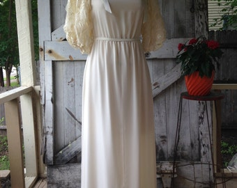 1980s avant garde wedding dress size small medium 80s ivory maxi dress Vintage dress with huge puff shoulders