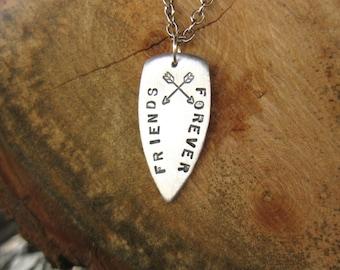 Besties-Best Friends Necklace-Friends Forever-Crossed Arrows-Arrowhead Necklace-Friendship-Vegan-Gift-Birthday-BFF Gift-Wedding-Personalized