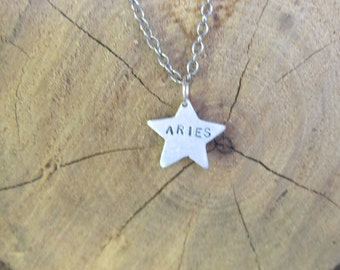 Zodiac Necklace-Aries-Star Sign Star Astrology Necklace-Vegan Necklace-Vegan Jewelry-Horoscope-Eco Friendly-Recycled Metals