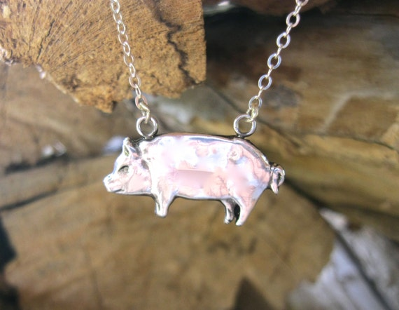 Happy Pig necklace-Metal Clay-Vegan Necklace-Gift-Birthday-Anniversary-Farm Animal Necklace-Eco Friendly-PMC-Personalized