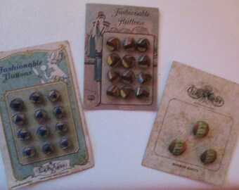 Carded Vintage Antique Glass Czech LaMode Buttons Lot 3 FREE SHIPPING