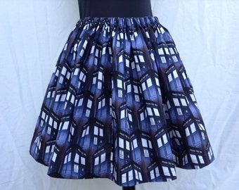 Full Skirt Made From Dr. Who TARDIS Police Box Fabric