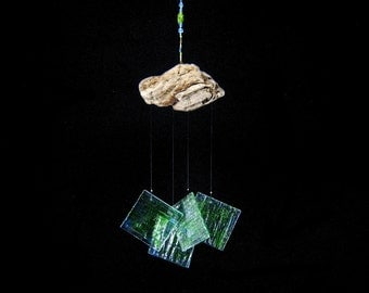 Green and Blue Wind Chime with Oregon Driftwood,Glass Windchime,Glass Chimes
