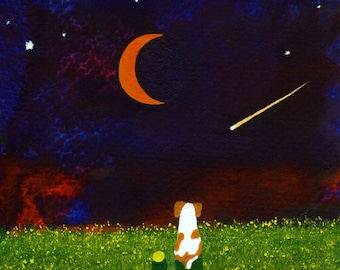 Springer Brittany Spaniel Dog folk Art PRINT of Todd Young painting STARRY SKY