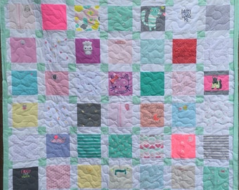 "BABY CLOTHES Quilt Heirloom Memory Quilt Custom Order 58"" x 66"" - Using Your Baby Clothes"