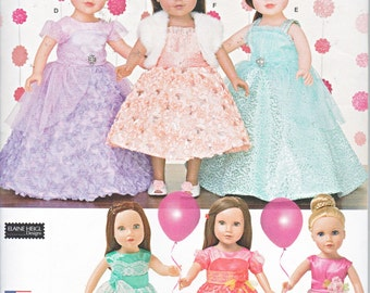 """Simplicity 1135 Formal Party Dresses 18"""" Doll Clothes Sewing Pattern New UNCUT"""