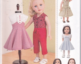 "Simplicity 1086 Doll Clothes 18"" Vintage 50s American Girl Dresses Full Skirts Top New UNCUT"