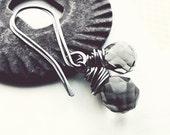 Smokey Quartz Earrings - Sterling Silver Earrings - wire wrap faceted stone grey earrings long earwires