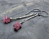 pink tourmaline earrings, raw pink tourmaline earrings, stick earrings, October birthstone, tourmaline earrings, gift for her, gift for wife