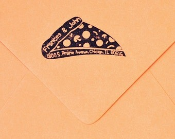 Pizza Return Address Rubber Stamp Housewarming Wedding Present