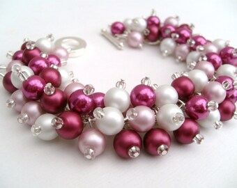 Cluster Pearl Bead Bracelet, Mulberry and Pink, Chunky Bracelet, Bead Bracelet, Fashion Jewelry, Made in UK, Berry Colours, Pink Bracelet