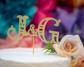 Monogram Bride & Groom Initials Cake Topper - Personalized Gold Glitter  - Wedding Couples Initial Cake Pick - Shower Decoration Centerpiece