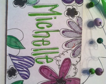 New flower sign - personalized for your girl - in purples and greens