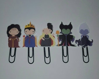 Villian Planner Paperclips Bookmarks (set of 5)