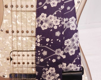 navy blue cherry blossom floral hipster indie guitar strap