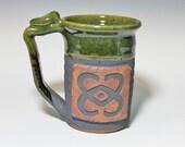 celtic design mug,  20oz handmade mug, large stein green,  ready to ship