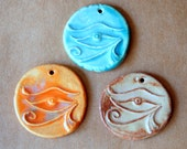 3 Handmade ceramic beads - Eye of Horus in rustic and earthy natural glazes - great for stoneware pendants