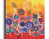 Gallery Canvas and Fine Art Prints Whimsical Orange Garden Landscape Flowers Folk Giclee Elena
