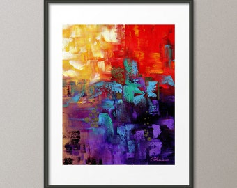 Gallery Canvas and Fine Art Prints Red Art Blue Painting Purple Colorful Painting Orange Painting Abstract Art Modern Contemporary