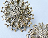 Two Large Filigree Brass Ox Stampings  - Made in the USA (4-9-2)