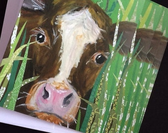 Bessie Cow Notecard Set from Original Painting Collage
