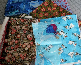 Large Lot SCRAP FABRIC Quilt Bundle - over 1 pound Winter CHRISTMAS Frozen Holiday - Lot C