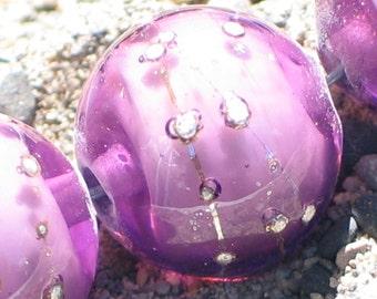 Handmade Glass Lampwork Beads, focal filler art bead Medium Purple/Pure Silver 11mm round