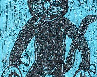 Cat Burglar Woodcut