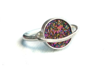 Saturn Druzy Ring- Handmade in Sterling Silver
