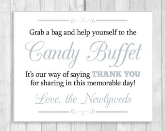 Printable Grab a Bag and Help Yourself to the Candy Buffet 8x10 Black and Silver Wedding Sign - Instant Digital Download