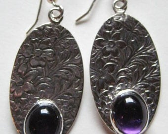 Amethyst Floral Pattern Earrings .  Sterling Silver.                                   e845